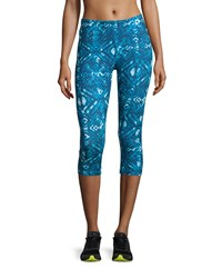 The Balance Collection Geometric Print Cropped Leggings Methyl Blue Paint