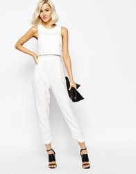River Island Mesh Mix Jumpsuit White