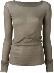 Rick Owens Boat Neck Top Brown
