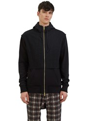 Aganovich Pinstripe Panelled Zip Up Hooded Sweater Black