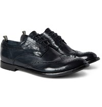 Officine Creative Anatomia Glossed Leather Wingtip Brogues Midnight Blue