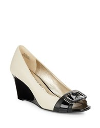 Anne Klein Pamelyn Leather Wedges Ivory