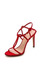 Jean Michel Cazabat Olympia Suede Sandals Rosso