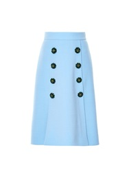 Dolce And Gabbana Embellished Button Front Wool Midi Skirt