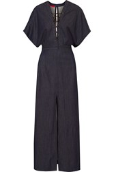 Tamara Mellon Lace Up Stretch Denim Maxi Dress Blue