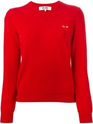 Comme Des Garcons Play Heart Logo V Neck Sweater Red