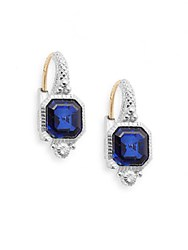 Judith Ripka Estate Blue Corundum White Sapphire And Sterling Silver Drop Earrings