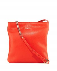 Furla Julia Leather Crossbody Bag With Chain Handles Arancio