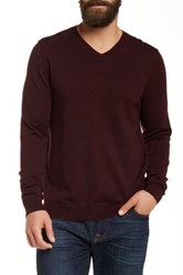 Wallin And Bros Cotton Cashmere V Neck Sweater Red