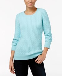Karen Scott Crew Neck Cable Knit Sweater Only At Macy's Angel Blue