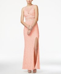 City Triangles City Studios Juniors' Embellished Glitter Lace Side Slit Gown