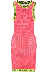 Moschino Open Knit Cotton Dress Pink