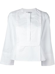 Carven Square Bib Blouse White