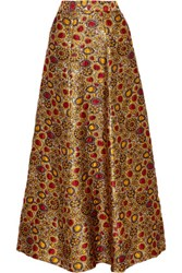 Alice Olivia Terilyn Metallic Brocade Maxi Skirt Gold