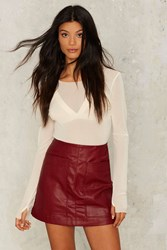 Wait A Mini Vegan Leather Skirt Red