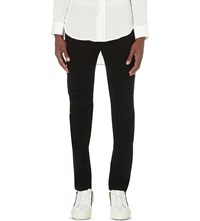 Balmain Biker Slim Fit Skinny Stretch Cotton Jeans Black White