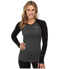 New Balance Performance Merino Long Sleeve Top Heather Charcoal Black Women's Long Sleeve Pullover