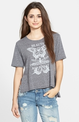 Living Doll 'Beaute' Graphic High Low Tee Juniors Black