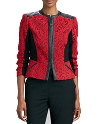 Magaschoni Textured Jacquard Leather Trim Jacket Red Black