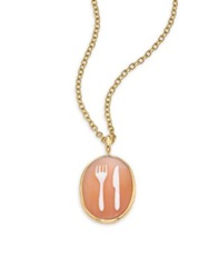 Ippolita Shell Cameo Clear Quartz And 18K Yellow Gold Oval Fork Knife Charm Gold Peach