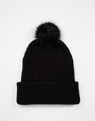 Asos Beanie In Black With Faux Fur Bobble