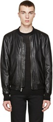 Blk Dnm Black Leather Bomber 81 Jacket