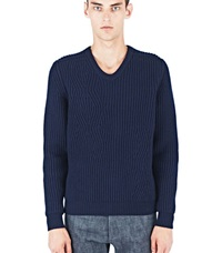 Lanvin Cable Knit V Neck Sweater Navy