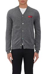 Comme Des Garcons Play Men's Double Heart Patch Wool Cardigan Grey