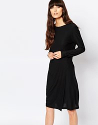 Selected Milan Dress With Drape Skirt Black