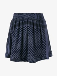 Cecilie Copenhagen Keffiyeh Cotton Skirt Black Blue Denim