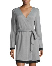 Cosabella Waldorf Short Robe Heather Gray Black Heathergrey Black