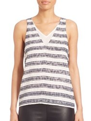Cooper And Ella Tori Deep V Neck Striped Tank White Navy