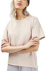 Topshop Women's Distressed Edge Tee Cream