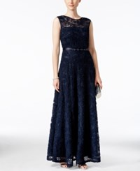 Tahari By Arthur S. Levine Asl Floral Soutache Belted Gown Navy