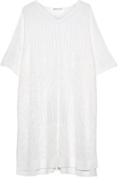 Alice Olivia Willard Pointelle Knit Linen Blend Poncho Off White
