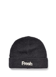Scotch And Soda 'Fresh' Embroidery Wool Blend Beanie Grey