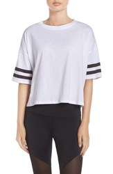Onzie Women's 'Varsity' Crop Tee White Black