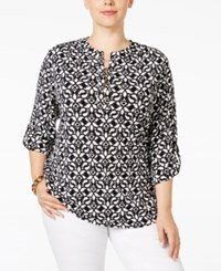 Charter Club Plus Size Printed Henley Top Only At Macy's Deep Black Combo