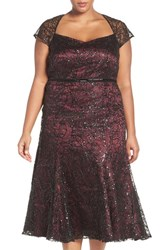 Brianna Plus Size Women's Sequin Embroidered Overlay Tea Length Party Dress Merlot Black