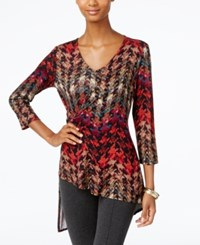 Cable And Gauge Printed Faux Wrap Asymmetrical Hem Top Basket Weave