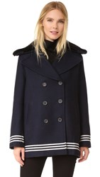Sea Shearling Trim Peacoat Navy