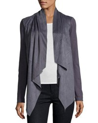 Cusp By Neiman Marcus Faux Suede Drape Front Jacket Slate
