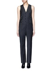 Givenchy Pinstripe Wool Jumpsuit Black