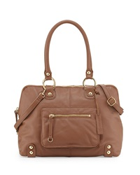 Lp By Linea Pelle Dylan Front Pocket Leather Duffel Bag Coffee Bean