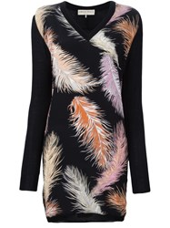 Emilio Pucci Feather Print Knitted Dress Black