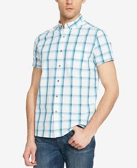 Kenneth Cole Reaction Men's Large Gingham Short Sleeve Shirt Trpclblcmb