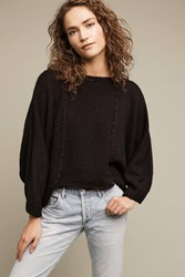 Anthropologie Cabled Boatneck Pullover Black