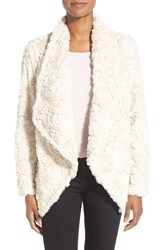 Women's Dylan Textured Faux Fur Drape Front Coat