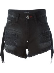 Philipp Plein Fringed Denim Shorts Black