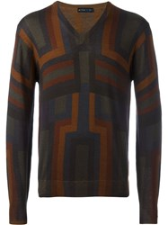 Etro Striped Pattern V Neck Jumper Brown
